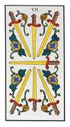 Seven of Swords Tarot card in Angel Tarot deck