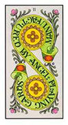 Two of Pentacles Tarot card in Angel Tarot deck