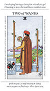 Two of Wands Tarot card in Apprentice deck