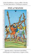 Five of Wands Tarot card in Apprentice deck