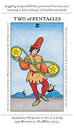 Two of Pentacles Tarot card in Apprentice deck