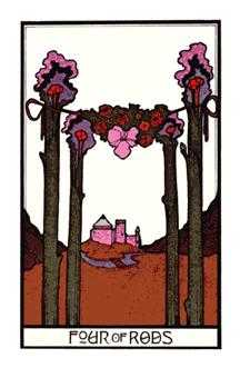 Four of Rods Tarot Card - Aquarian Tarot Deck
