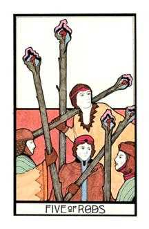 Five of Rods Tarot Card - Aquarian Tarot Deck
