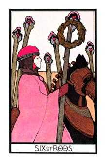 Six of Rods Tarot Card - Aquarian Tarot Deck