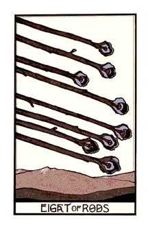 Eight of Batons Tarot Card - Aquarian Tarot Deck