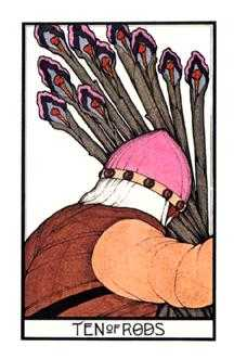 Ten of Batons Tarot Card - Aquarian Tarot Deck