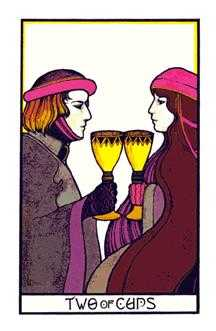 Two of Hearts Tarot Card - Aquarian Tarot Deck