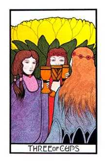Three of Hearts Tarot Card - Aquarian Tarot Deck