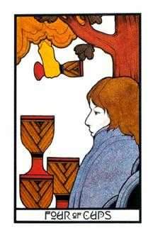 Four of Hearts Tarot Card - Aquarian Tarot Deck