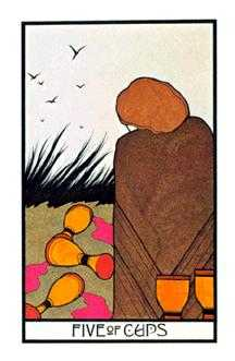 Five of Hearts Tarot Card - Aquarian Tarot Deck