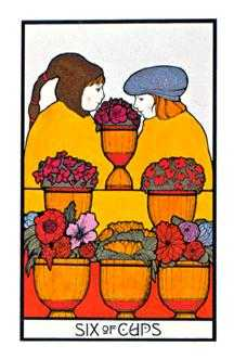 Six of Hearts Tarot Card - Aquarian Tarot Deck
