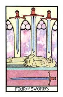 Four of Swords Tarot Card - Aquarian Tarot Deck