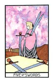 Five of Bats Tarot Card - Aquarian Tarot Deck