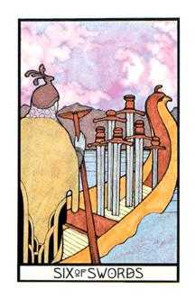 Six of Arrows Tarot Card - Aquarian Tarot Deck