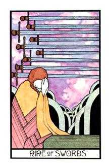 Nine of Arrows Tarot Card - Aquarian Tarot Deck