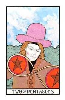 Two of Discs Tarot Card - Aquarian Tarot Deck