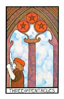 Three of Coins Tarot Card - Aquarian Tarot Deck
