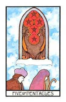 Five of Coins Tarot Card - Aquarian Tarot Deck