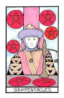 Six of Pentacles Tarot Card - Aquarian Tarot Deck