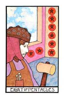 Eight of Coins Tarot Card - Aquarian Tarot Deck