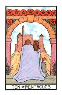 Ten of Coins Tarot Card - Aquarian Tarot Deck