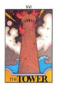 The Tower Tarot card in Aquarian Tarot deck