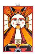 The Sun Tarot card in Aquarian Tarot deck