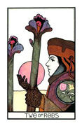 Two of Rods Tarot card in Aquarian deck