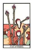 Five of Rods Tarot card in Aquarian Tarot deck