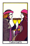 Two of Cups Tarot card in Aquarian deck