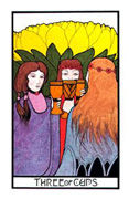 Three of Cups Tarot card in Aquarian deck