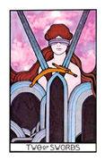 Two of Swords Tarot card in Aquarian deck