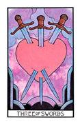 Three of Swords Tarot card in Aquarian deck