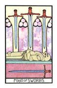 Four of Swords Tarot card in Aquarian deck