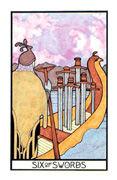 Six of Swords Tarot card in Aquarian deck