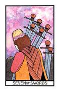 Seven of Swords Tarot card in Aquarian Tarot deck