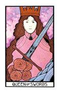 Queen of Swords Tarot card in Aquarian Tarot deck