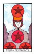 Four of Coins Tarot card in Aquarian deck