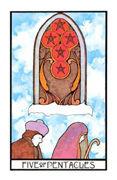 Five of Coins Tarot card in Aquarian deck
