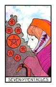 Seven of Coins Tarot card in Aquarian deck