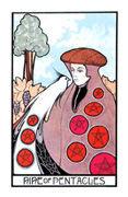 Nine of Coins Tarot card in Aquarian deck