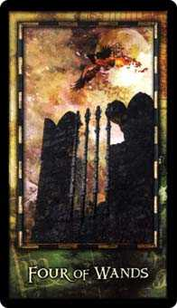 Four of Batons Tarot Card - Archeon Tarot Deck