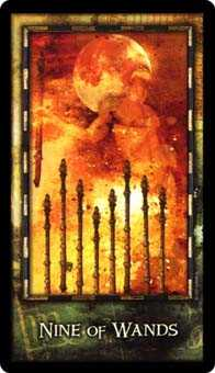 Nine of Fire Tarot Card - Archeon Tarot Deck