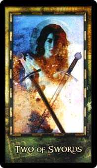 Two of Arrows Tarot Card - Archeon Tarot Deck