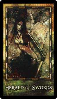 Slave of Swords Tarot Card - Archeon Tarot Deck