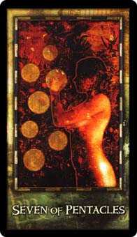 Seven of Coins Tarot Card - Archeon Tarot Deck