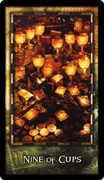 Nine of Cups Tarot card in Archeon deck