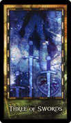 Three of Swords Tarot card in Archeon deck
