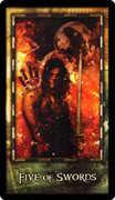 Five of Swords Tarot card in Archeon Tarot deck