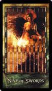 Nine of Swords Tarot card in Archeon Tarot deck